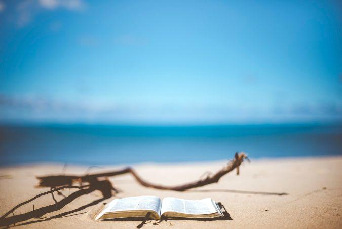 砂浜にある本
